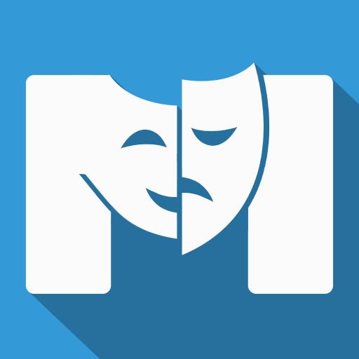 Nova logotipo do Mundo dos Musicais, que consiste em uma letra M na cor branca, que forma duas máscaras, uma sorrindo e uma triste, conhecidas como símbolo do teatro O fundo da imagem é azul.